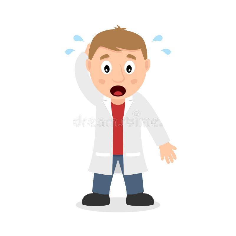 Zmieszana samiec lekarki postać z kreskówki ilustracji