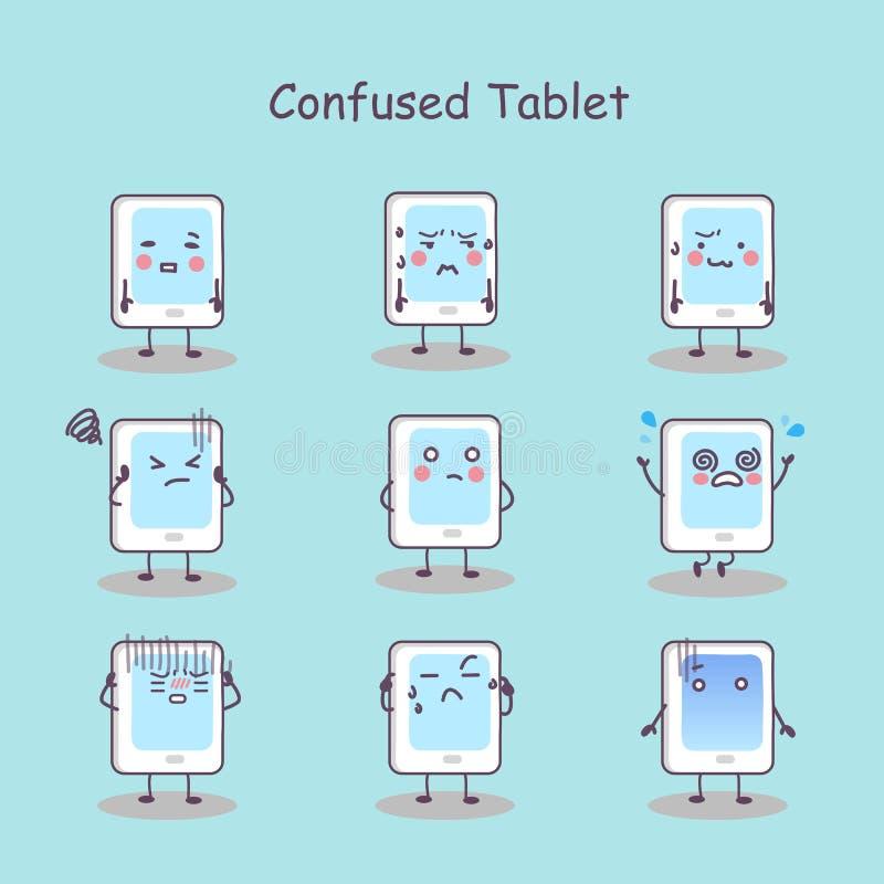 Zmieszanej kreskówki pastylki cyfrowy komputer osobisty ilustracji