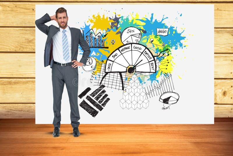 Zmieszany biznesmen z wzrostową mapą w tle ilustracja wektor