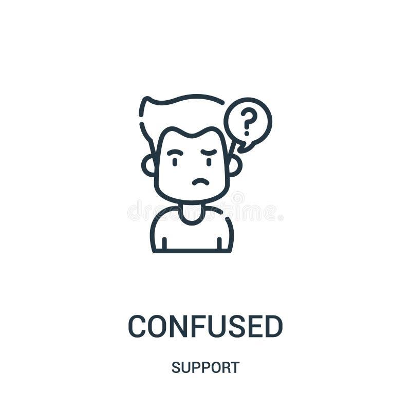 zmieszany ikona wektor od poparcie kolekcji Cienka linia wprawiać w zakłopotanie kontur ikony wektoru ilustracja Liniowy symbol d royalty ilustracja