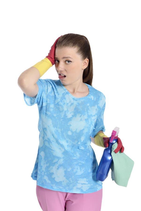 Zmieszany kobiety Cleaning zdjęcie royalty free