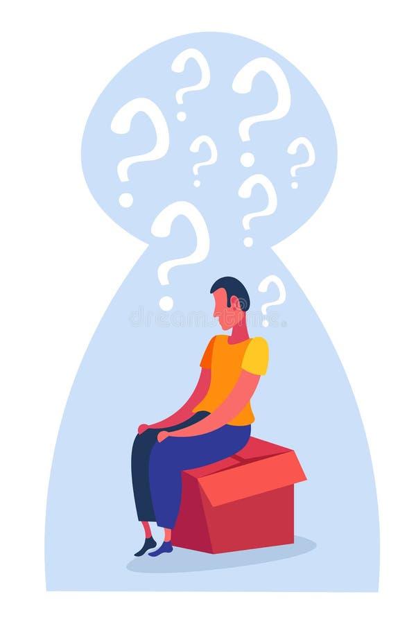 Zmieszany mężczyzna siedzi papierowego pudełka znaków zapytania myślącą ikonę rozpamiętywa problemowego pojęcia keyhole tła verti royalty ilustracja
