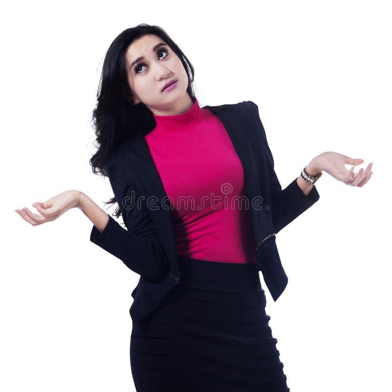 Zmieszany Młody bizneswoman obraz stock