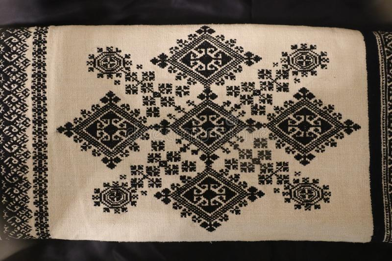 Zmijanje embroidery is a specific technique practised by the women of Zmijanje villages in Bosnia and Herzegovina. Traditionally, Zmijanje embroidery is used stock image