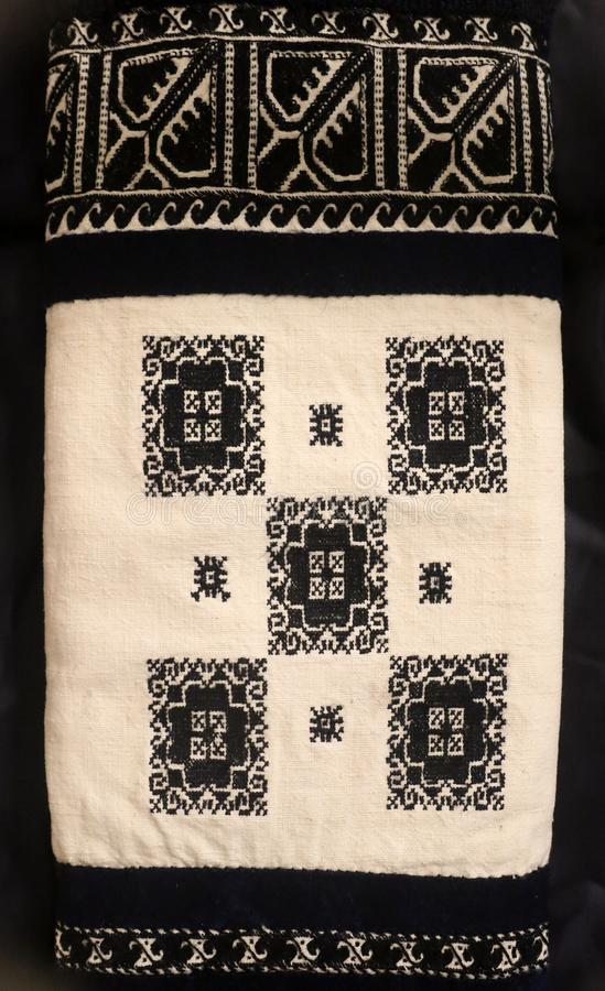 Zmijanje embroidery is a specific technique practised by the women of Zmijanje villages in Bosnia and Herzegovina. Traditionally, Zmijanje embroidery is used stock photos