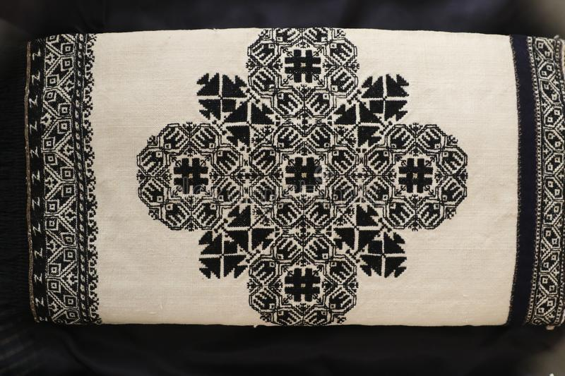 Zmijanje embroidery is a specific technique practised by the women of Zmijanje villages in Bosnia and Herzegovina. Traditionally, Zmijanje embroidery is used stock images