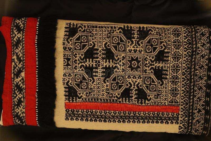 Zmijanje embroidery is a specific technique practised by the women of Zmijanje villages in Bosnia and Herzegovina. Traditionally, Zmijanje embroidery is used royalty free stock photo