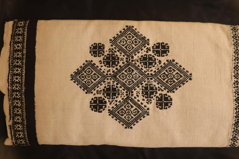 Zmijanje embroidery is a specific technique practised by the women of Zmijanje villages in Bosnia and Herzegovina. Traditionally, Zmijanje embroidery is used stock photo