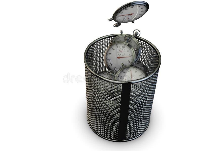 Zmizerowany czasu pojęcie z stopwatch i kosz na śmieci royalty ilustracja