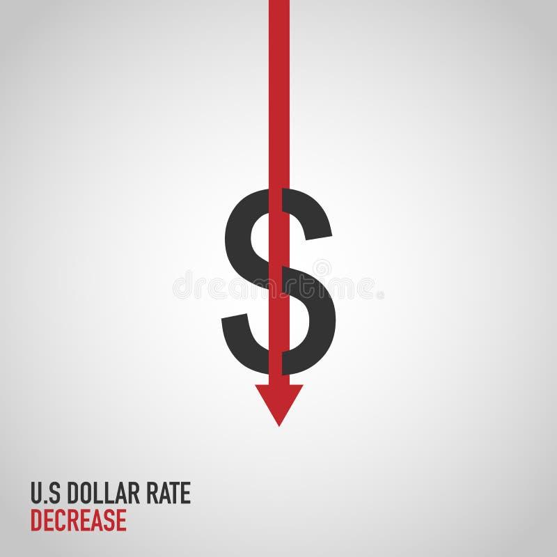 Zmniejsza koszt płaską dolarową ikonę royalty ilustracja