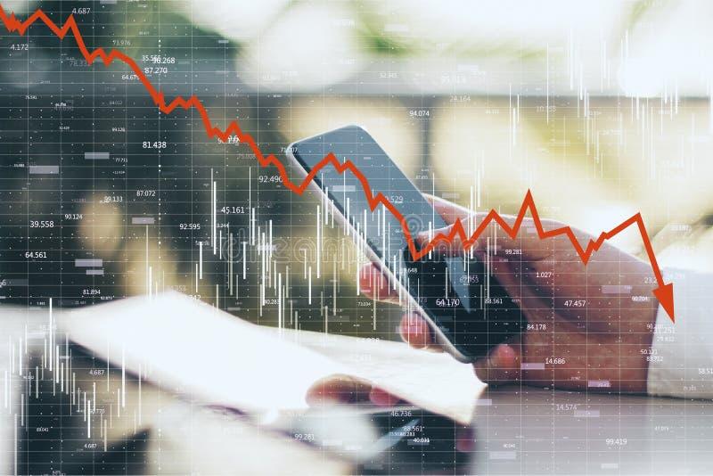 Zmniejszanie, internet i stats pojęcie, obraz stock