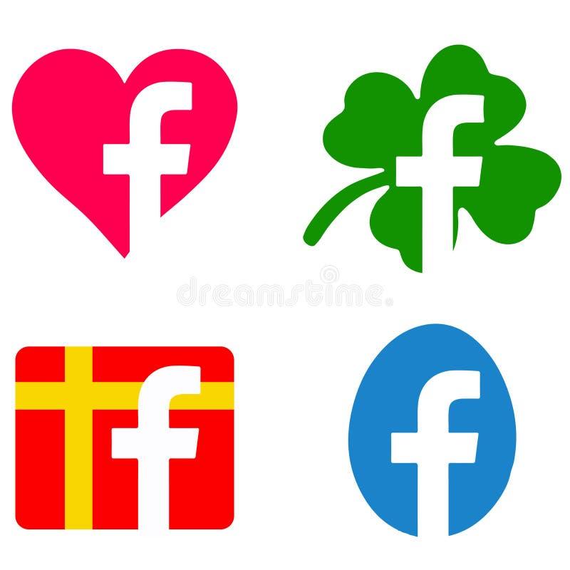 Zmodyfikowane facebook ikony ilustracji