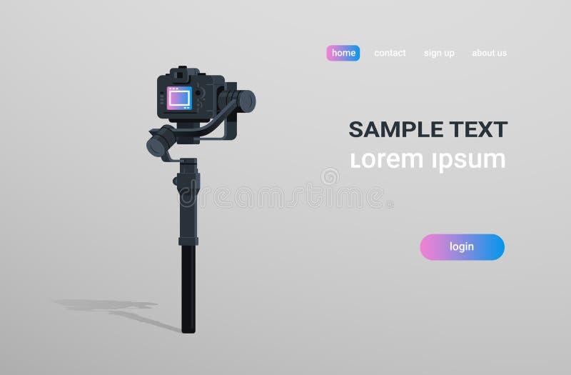 Zmotoryzowany gimbal stabilizator dla DSLR kamer potrząśnięcia narzędzia mirrorless antego rejestru sceny pojęcia szarość wideo t ilustracji