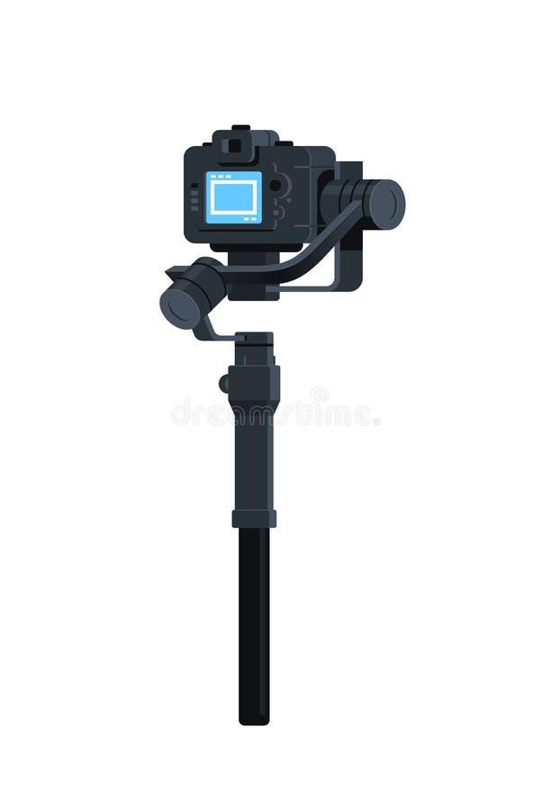 Zmotoryzowany gimbal stabilizator dla DSLR kamer potrząśnięcia narzędzia mirrorless antego rejestru sceny wideo pojęcia odizolowy ilustracja wektor