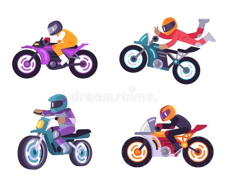 Zmotoryzowany rowerów setkarzów Bicyclist Odizolowywający na bielu ilustracji