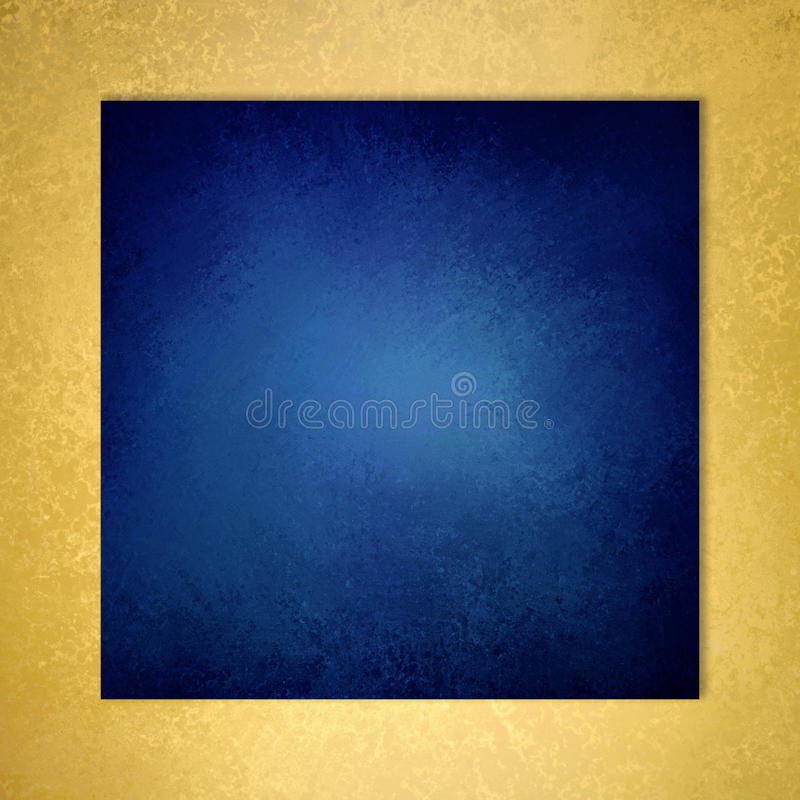 Zmrok - błękita kwadratowy tło z złoto textured granicą zdjęcie stock