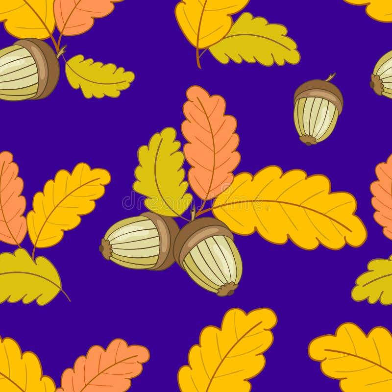 Zmrok - błękita wzór z liśćmi i acorns-01 ilustracji