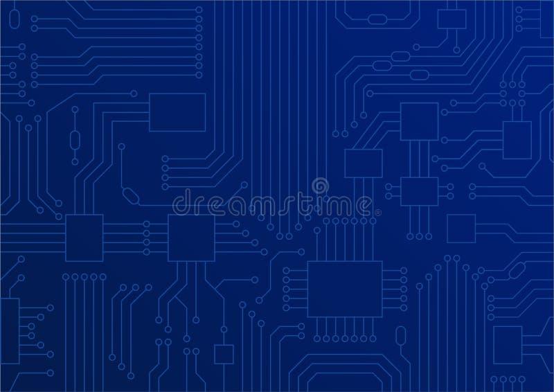 Zmrok - błękitna ilustracja obwód deska, jednostka centralna/zamyka up jako pojęcie dla cyfrowej transformaci ilustracja wektor