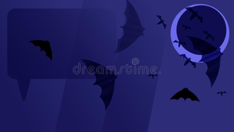 Zmrok - błękitnego papieru tło z czerń nietoperzami na ciemnej księżyc Halloweenowy kartka z pozdrowieniami ilustracji