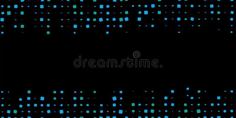 Zmrok - błękitnej mozaiki cyfrowy tło z rozmytymi kropkami wektorowymi Abstrakcjonistyczna ilustracja z barwionymi bąblami wektor royalty ilustracja