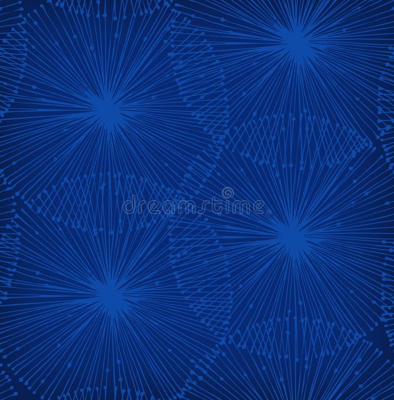 Zmrok - błękitni radials elementy. Tło dla wzorów, karty royalty ilustracja
