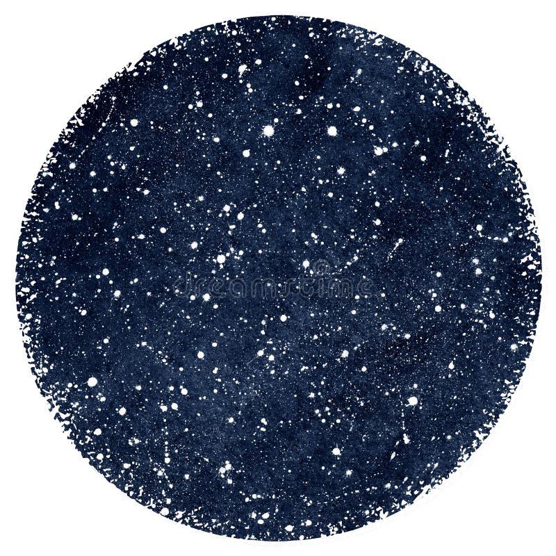 Zmrok - błękitny akwareli nocne niebo z gwiazdami royalty ilustracja