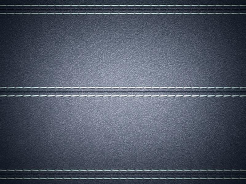 Zmrok - błękitny horyzontalny zaszyty rzemienny tło ilustracja wektor