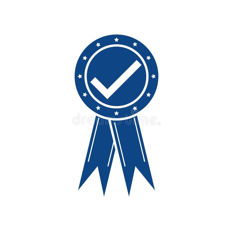 Zmrok - błękitny koloru medal z zatwierdzonym znakiem Czek oceny medalu zmrok - błękitny kolor dla sieć projekta wektoru eps10 royalty ilustracja