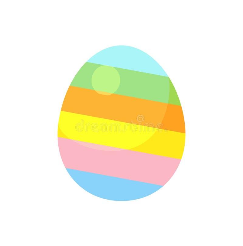 Zmrok - błękitny pasiasty Easter jajko z zieloną i czerwoną diagonalną linia wektoru ilustracją royalty ilustracja