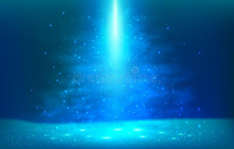 Zmrok - błękitny podwodny lekki wektorowy sceny tło ilustracja wektor