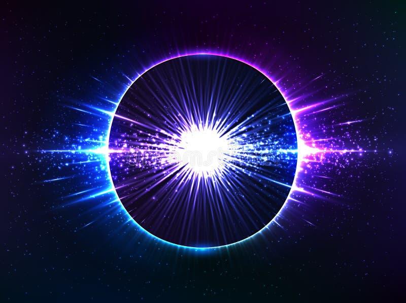 Zmrok - błękitny pozaziemski wybuch, wektorowy abstrakt ilustracji