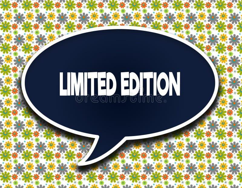 Zmrok - błękitny słowo balon z LIMITOWANĄ wydanie wiadomością tekstową Kwitnie tapetowego tło ilustracji