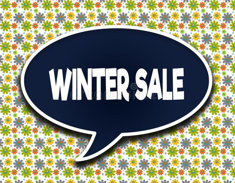 Zmrok - błękitny słowo balon z zimy sprzedaży wiadomością tekstową Kwitnie tapetowego tło royalty ilustracja