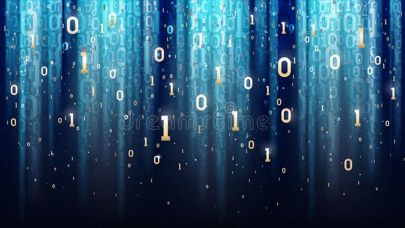 Zmrok - błękitny tło z binarnym kodem, cekiny, światło, cyfry w przestrzeni royalty ilustracja