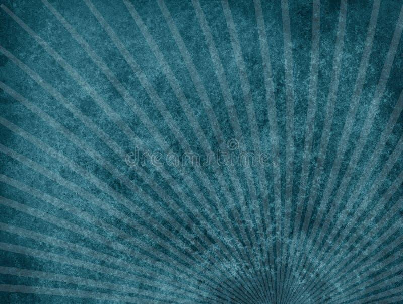 Zmrok - błękitny tło z słabo liniami i upaćkany grunge textured projektem starburst lub sunburst royalty ilustracja