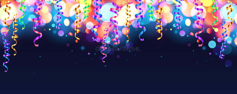 Zmrok - błękitny wakacyjny tło z kolorowym olśniewającym bokeh i serpentyną royalty ilustracja