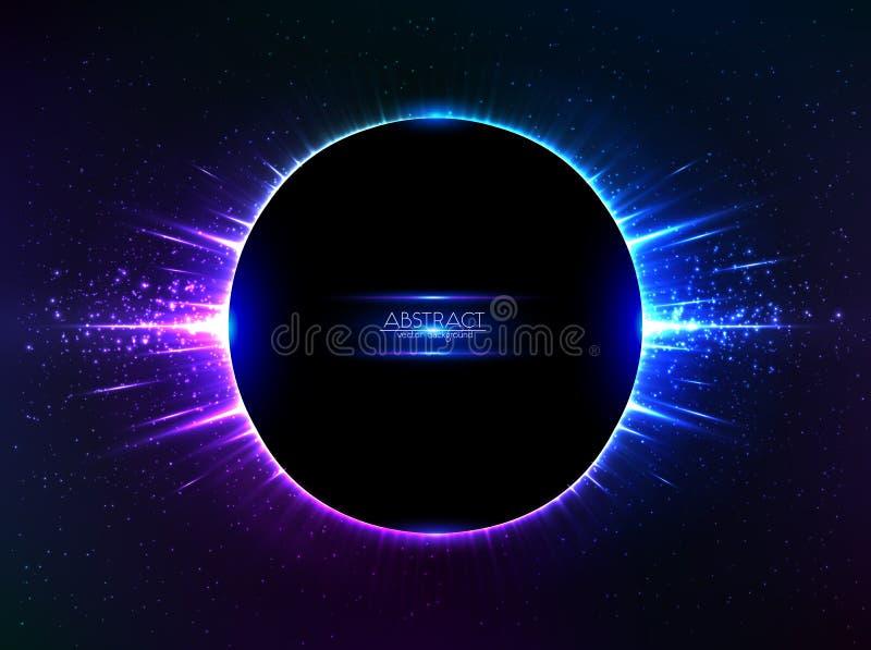 Zmrok - błękitny wektorowy olśniewający pozaziemski pierścionek ilustracja wektor