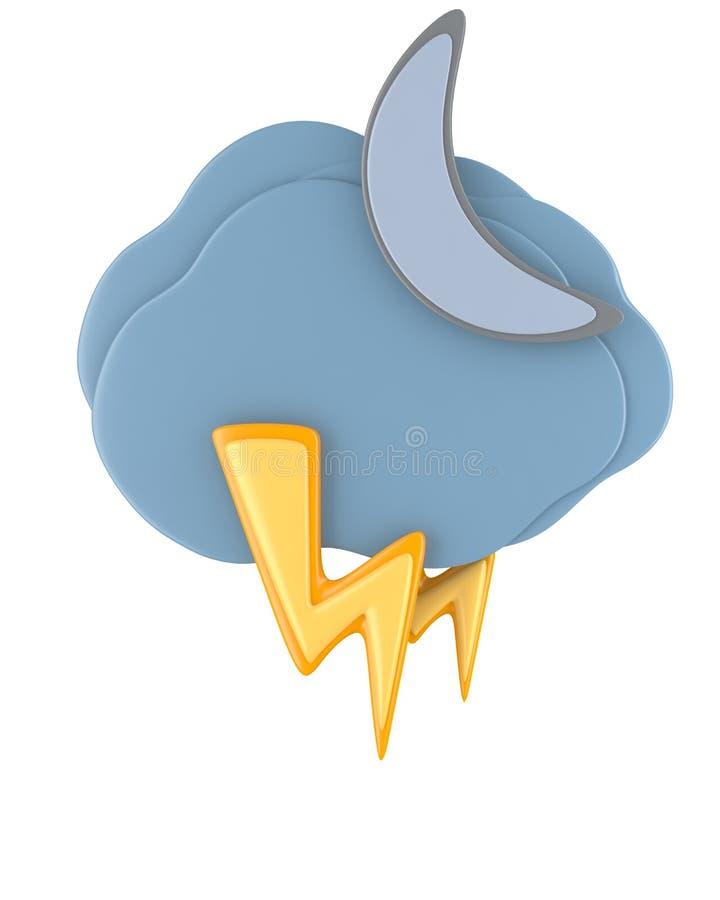 Zmrok chmura z raindrops i księżyc royalty ilustracja