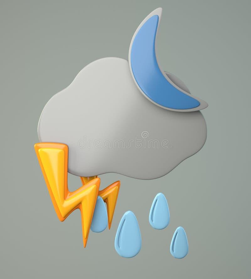 Zmrok chmura z raindrops, księżyc i oświetleniem, ilustracja wektor
