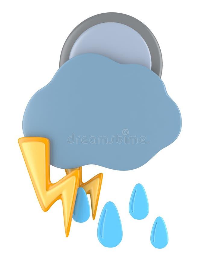 Zmrok chmura z raindrops, księżyc w pełni i oświetleniem, ilustracja wektor