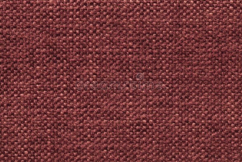 Zmrok - czerwieni trykotowy woolen tło z wzorem miękka część, wełnisty płótno Tekstura tekstylny zbliżenie zdjęcie royalty free
