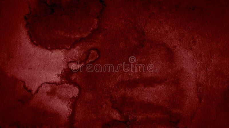 Zmrok - czerwonej akwareli abstrakcjonistyczny tło, plama, pluśnięcie farba, plama, rozwód Alarmujący, krwionośny czerwony gradie ilustracja wektor