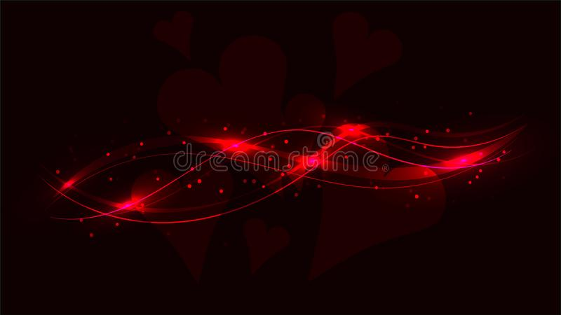 Zmrok - czerwoni przejrzyści serca i abstrakcjonistyczna olśniewająca magiczna pozaziemska magiczna energia wykładają, promienie  ilustracji