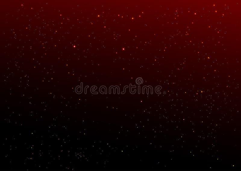 Zmrok - czerwony nocnego nieba i złota gwiazd tło royalty ilustracja