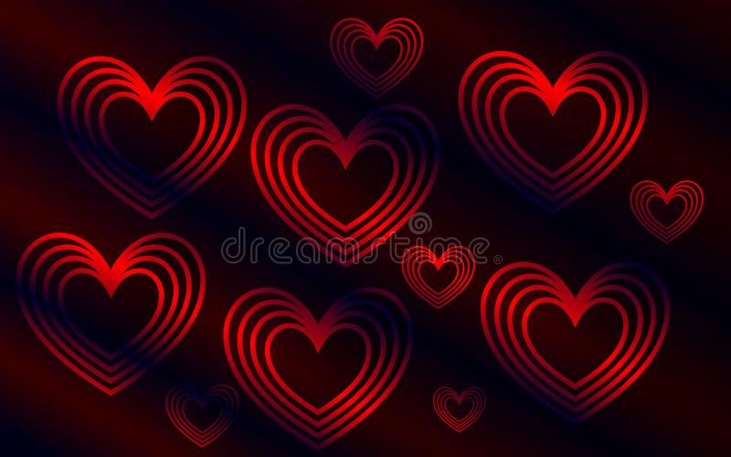 Zmrok - czerwony tło z sercami zdjęcia royalty free