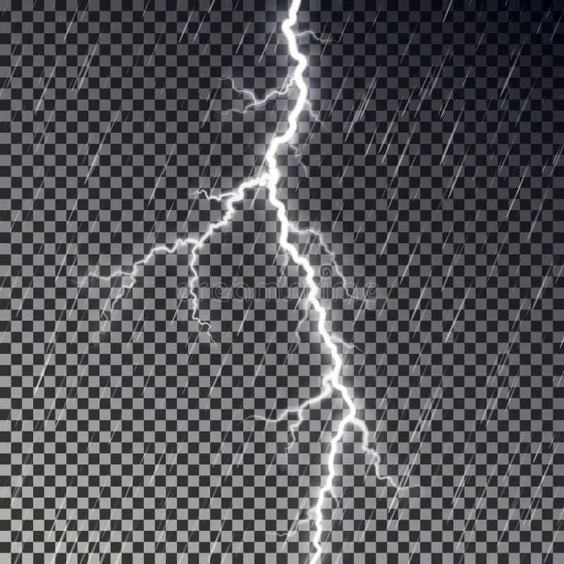 Zmrok pada niebo i błyskawicowego rygiel odizolowywających na w kratkę tle Przejrzysty podeszczowy skutek Real ilustracja wektor