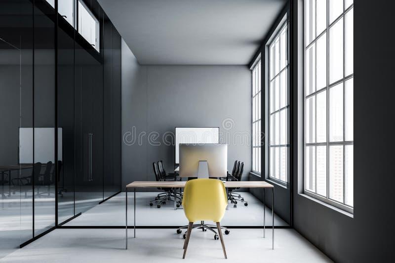 Zmrok - szary biurowy miejsce pracy, żółty krzesło royalty ilustracja