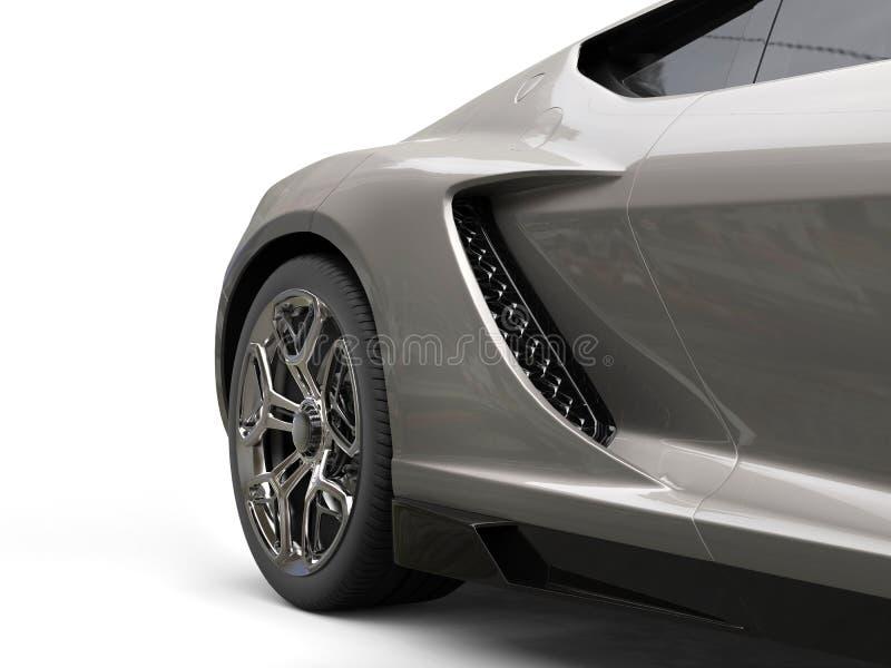 Zmrok - szary nowożytny sporta samochód - tylni koła zbliżenie fotografia royalty free
