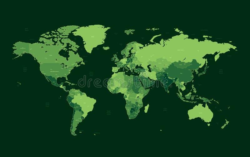 zmrok wyszczególniający zielony mapy świat royalty ilustracja