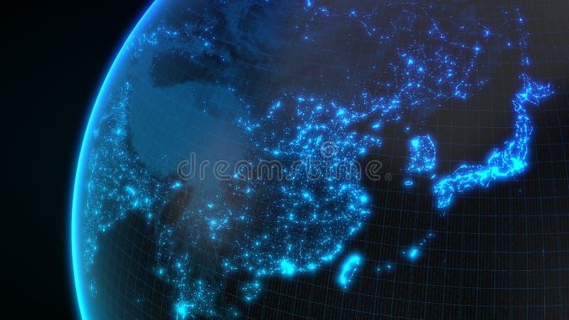 Zmrok ziemska kula ziemska z jarzyć się szczegóły miasta i populaci ludzkiej gęstości tereny ilustracja 3 d ilustracja wektor